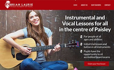 Cammy Graphic Design Paisley Music Lessons website