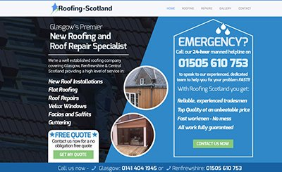 Cammy Graphic Design roofing Scotland website